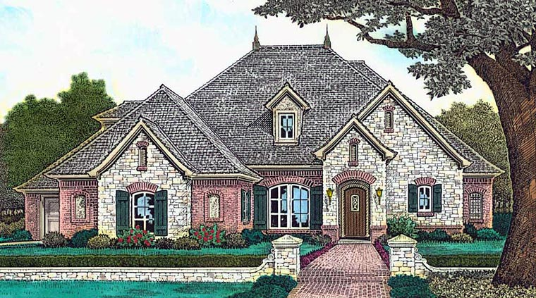 French Country , European , Country House Plan 89411 with 5 Beds, 5 Baths, 3 Car Garage Elevation