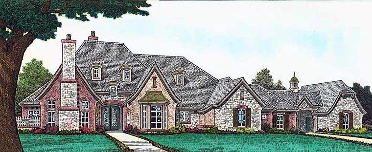 European , French Country , Tudor House Plan 89413 with 4 Beds, 5 Baths, 4 Car Garage Elevation
