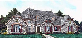 European , French Country House Plan 89414 with 4 Beds, 4 Baths, 4 Car Garage Elevation