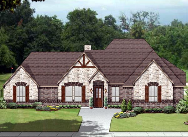 European, Traditional, Tudor House Plan 89809 with 4 Beds, 3 Baths, 3 Car Garage Front Elevation