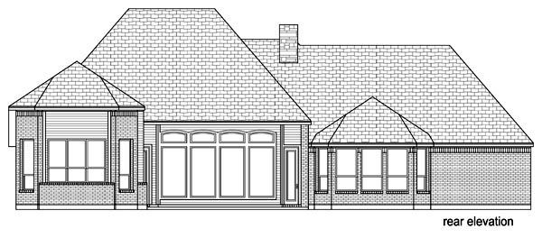 European, Traditional, Tudor House Plan 89809 with 4 Beds, 3 Baths, 3 Car Garage Rear Elevation