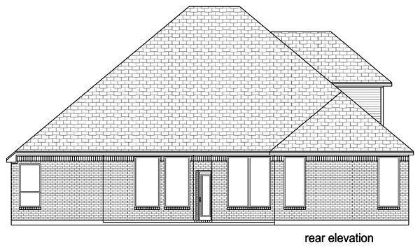 Traditional , Rear Elevation of Plan 89811