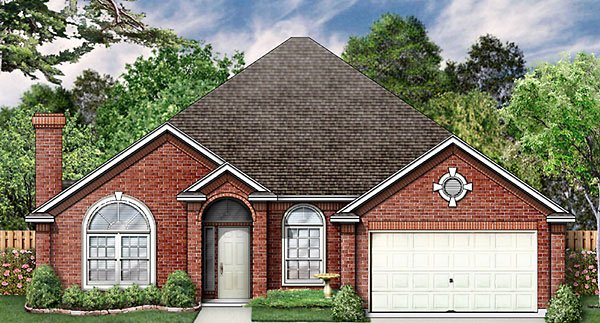 European House Plan 89812 with 4 Beds, 2 Baths, 2 Car Garage Elevation