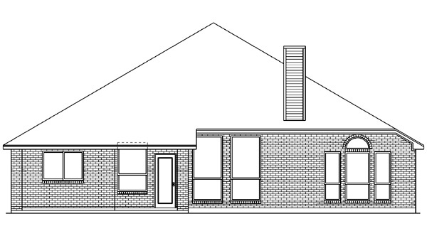 European House Plan 89821 Rear Elevation