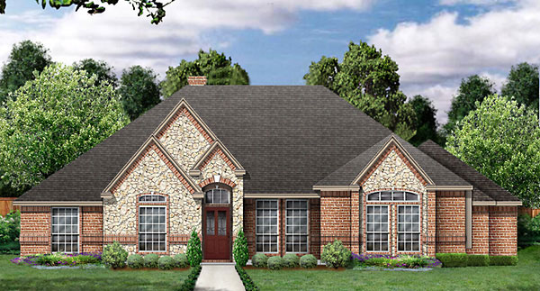 European House Plan 89827 with 4 Beds, 2 Baths, 2 Car Garage Elevation