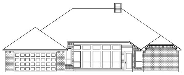 European House Plan 89827 with 4 Beds, 2 Baths, 2 Car Garage Rear Elevation