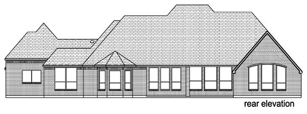 Traditional , European House Plan 89829 with 4 Beds, 3 Baths, 3 Car Garage Rear Elevation