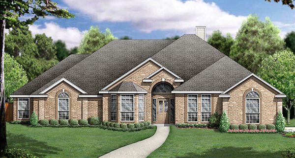 European House Plan 89834 with 5 Beds, 3 Baths, 3 Car Garage Elevation