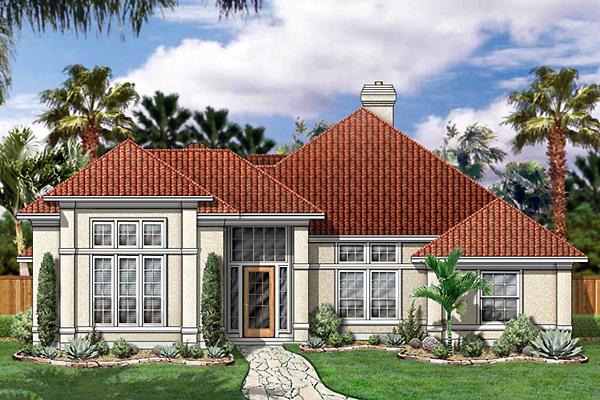 House Plan 89839 | Florida Mediterranean Style Plan with 2632 Sq Ft, 3 Bedrooms, 3 Bathrooms, 2 Car Garage Elevation