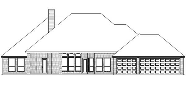 House Plan 89849 | Traditional Style Plan with 2721 Sq Ft, 5 Bedrooms, 3 Bathrooms, 3 Car Garage Rear Elevation
