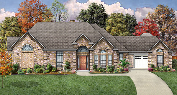 European House Plan 89857 with 4 Beds, 3 Baths, 3 Car Garage Elevation
