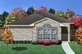 House Plan 89871 | Traditional Style House Plan with 1231 Sq Ft, 3 Bed, 2 Bath, 2 Car Garage Elevation