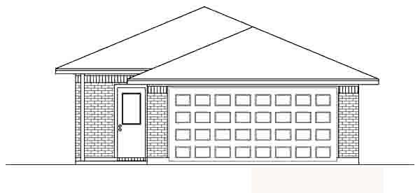 House Plan 89871 | Traditional Style House Plan with 1231 Sq Ft, 3 Bed, 2 Bath, 2 Car Garage Rear Elevation