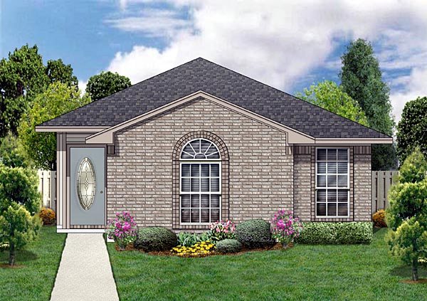 Narrow Lot One-Story Traditional Elevation of Plan 89880