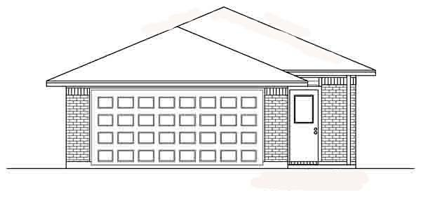 Narrow Lot One-Story Traditional Rear Elevation of Plan 89880