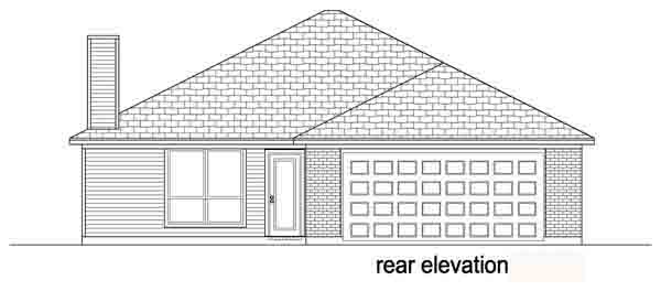 Traditional House Plan 89883 with 3 Beds, 2 Baths, 2 Car Garage Rear Elevation
