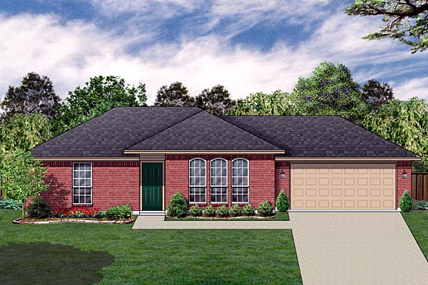 Traditional House Plan 89886 with 2 Beds, 1 Baths, 2 Car Garage Elevation