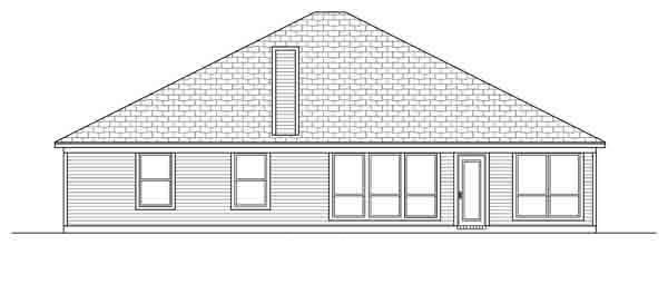 House Plan 89890 | Traditional Style Plan with 1976 Sq Ft, 3 Bedrooms, 2 Bathrooms, 2 Car Garage Rear Elevation