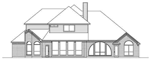 European, Traditional House Plan 89899 with 4 Beds, 4 Baths, 3 Car Garage Rear Elevation
