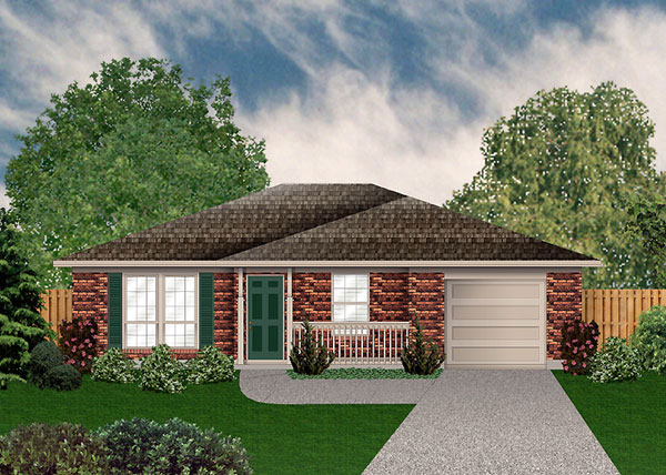 Traditional House Plan 89910 with 2 Beds, 1 Baths, 1 Car Garage Front Elevation