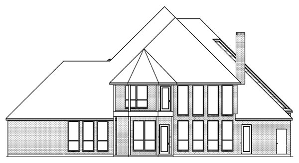 European Tudor House Plan 89963 Rear Elevation