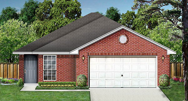 House Plan 89968 | Traditional Style House Plan with 1225 Sq Ft, 3 Bed, 2 Bath, 2 Car Garage Elevation