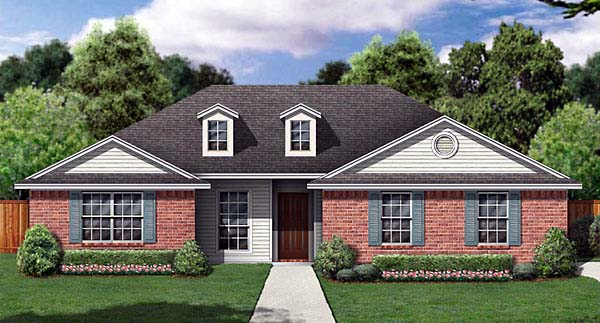 House Plan 89969 | Traditional Style House Plan with 1243 Sq Ft, 3 Bed, 2 Bath, 2 Car Garage Elevation