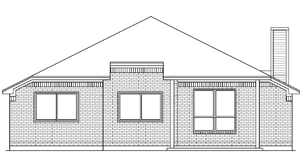 European Traditional Rear Elevation of Plan 89971