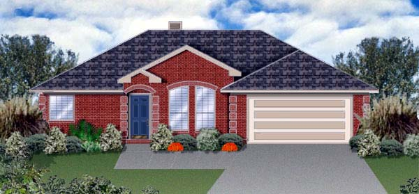 House Plan 89976 | Traditional Style Plan with 1515 Sq Ft, 4 Bedrooms, 2 Bathrooms, 2 Car Garage Elevation