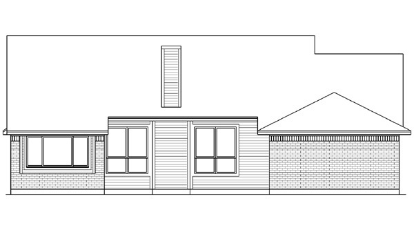 Country House Plan 89988 with 4 Beds, 2 Baths, 2 Car Garage Rear Elevation