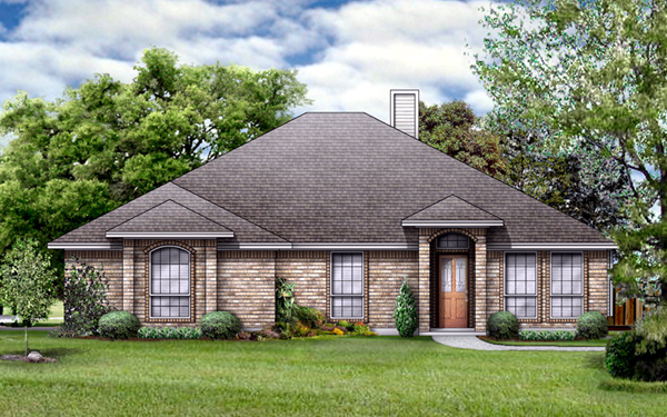 House Plan 89995 | European Style Plan with 1867 Sq Ft, 4 Bedrooms, 2 Bathrooms, 2 Car Garage Elevation