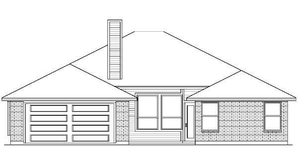 House Plan 89996 | European Style House Plan with 1867 Sq Ft, 3 Bed, 2 Bath, 2 Car Garage Rear Elevation