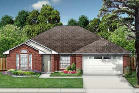 European House Plan 89997 with 3 Beds, 2 Baths, 2 Car Garage Elevation