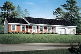 House Plan 90106 | Ranch Style Plan with 1643 Sq Ft, 3 Bedrooms, 2 Bathrooms, 2 Car Garage Elevation