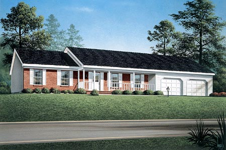 Ranch House Plan 90106 with 3 Beds, 2 Baths, 2 Car Garage Elevation