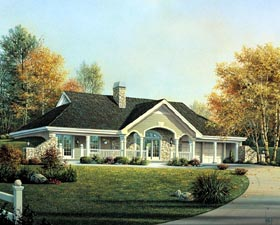 Cabin Cottage Country Ranch Traditional House Plan 90199 Elevation