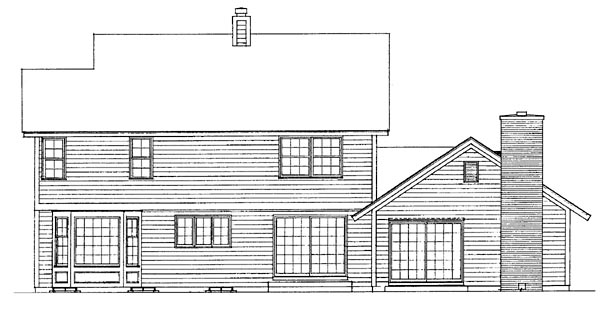 Country House Plan 90201 with 4 Beds, 3 Baths, 2 Car Garage Rear Elevation