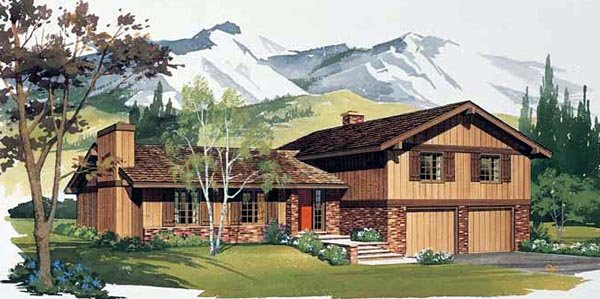 Ranch, Retro, Traditional House Plan 90202 with 4 Beds, 3 Baths, 2 Car Garage Elevation