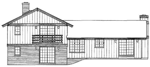 Ranch, Retro, Traditional House Plan 90202 with 4 Beds, 3 Baths, 2 Car Garage Rear Elevation