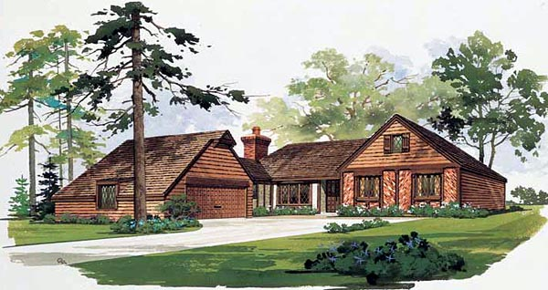 House Plan 90203 | Contemporary Style Plan with 1499 Sq Ft, 3 Bedrooms, 2 Bathrooms, 2 Car Garage Elevation