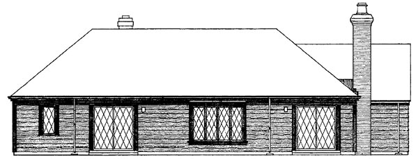House Plan 90203 | Contemporary Style Plan with 1499 Sq Ft, 3 Bedrooms, 2 Bathrooms, 2 Car Garage Rear Elevation