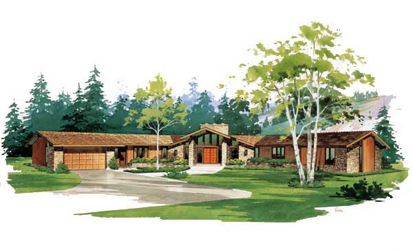 Contemporary Ranch House Plan 90204 Elevation