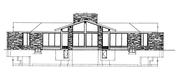Contemporary Ranch House Plan 90204 Rear Elevation