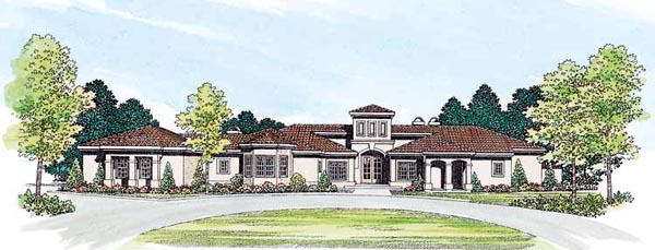 Mediterranean Ranch Southwest House Plan 90205 Elevation