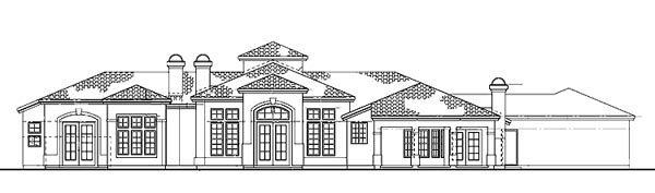 Mediterranean Ranch Southwest House Plan 90205 Rear Elevation