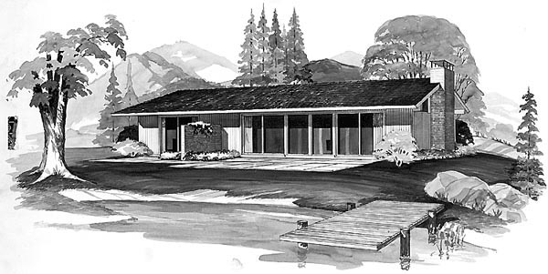 Contemporary Ranch House Plan 90206 Elevation