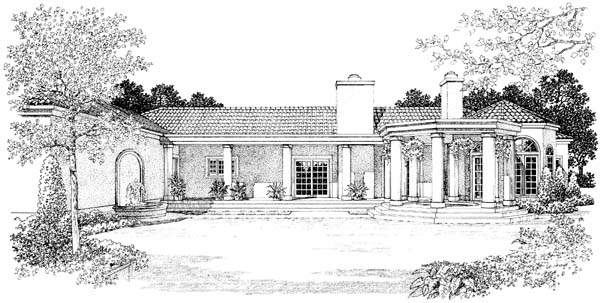 Mediterranean House Plan 90209 Rear Elevation