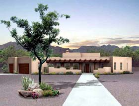 Santa Fe Southwest House Plan 90211 Elevation