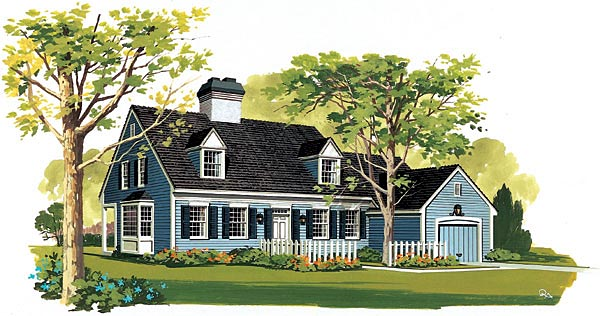 Cape Cod House Plan 90214 with 4 Beds, 3 Baths, 1 Car Garage Elevation