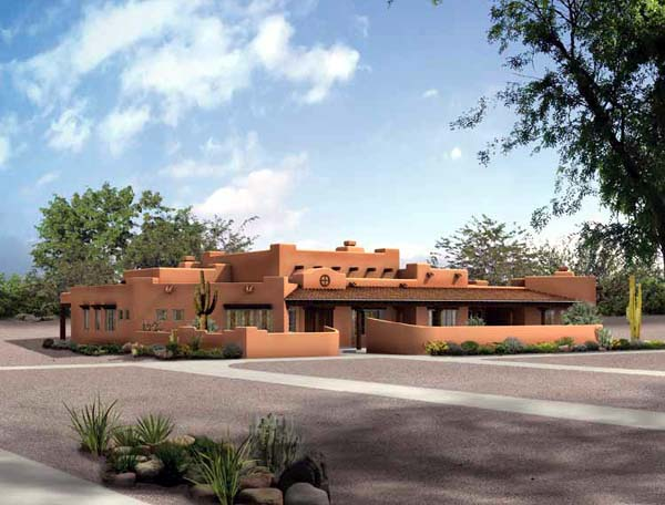 Santa Fe , Southwest House Plan 90215 with 4 Beds, 4 Baths, 3 Car Garage Elevation